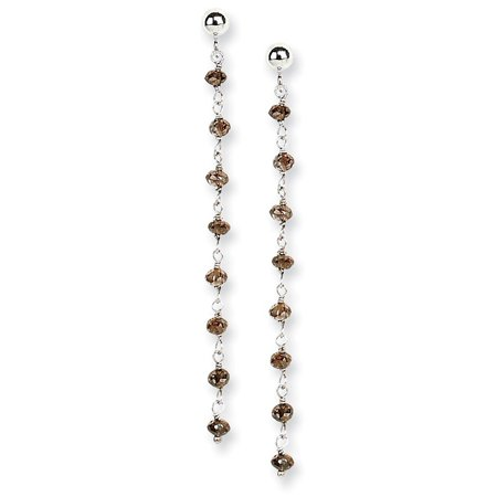 14k Gold Brown Diamond Briolette Earring - 2.20 dwt Golden Brown Earring