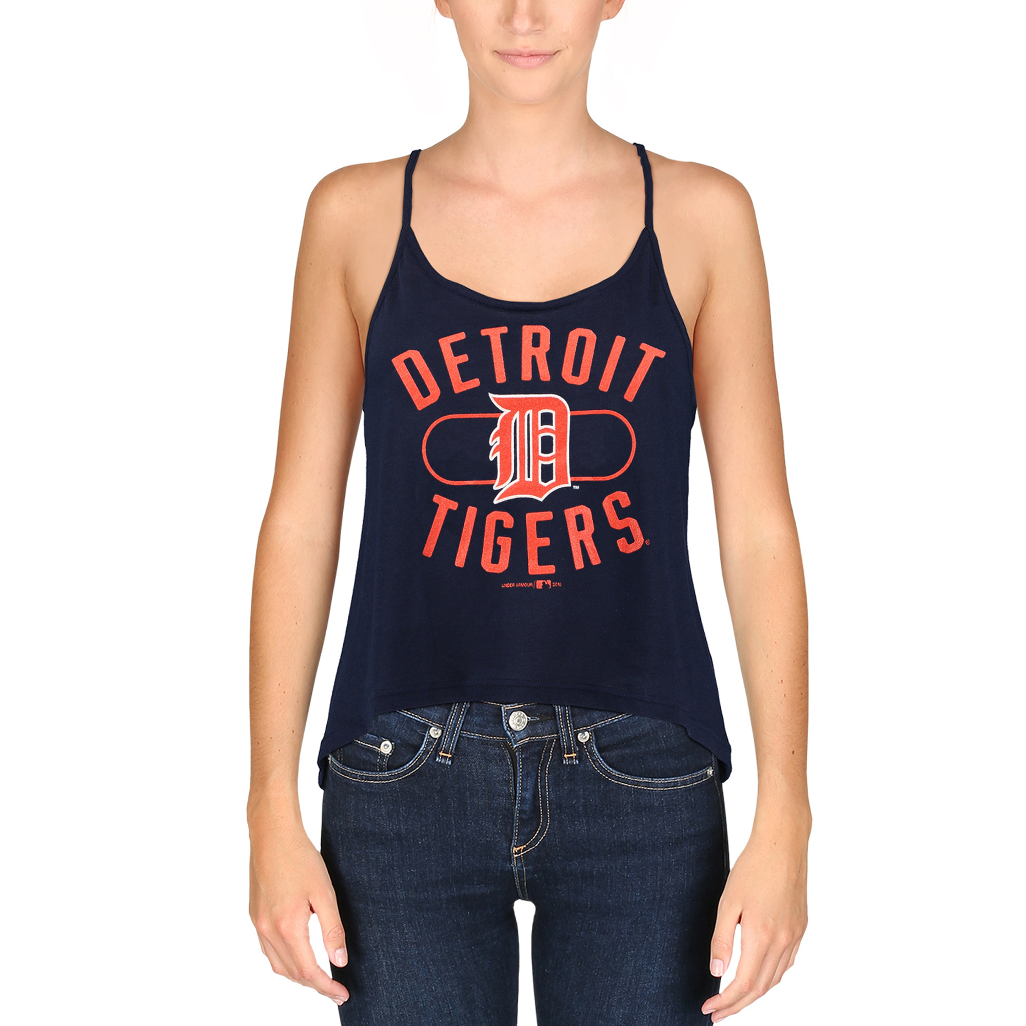 Women's Under Armour Navy Detroit Tigers Performance Strappy Layer Tank Top by