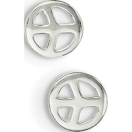 925 Sterling Silver Peace Sign Post (7x7mm) Earrings - image 2 de 2