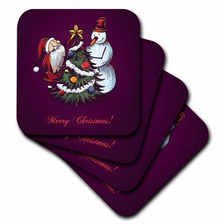 Merry Christmas Coaster - 3dRose Cute Snowman With Santa Claus and Christmas Tree With The Words Merry Christmas, Ceramic Tile Coasters, set of 4