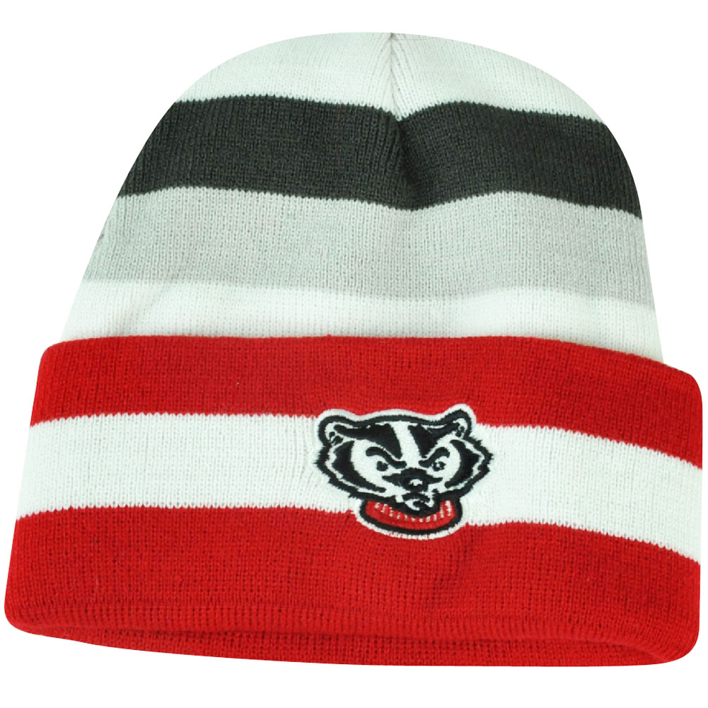 NCAA Wisconsin Badgers Striped Cuffed Knit Beanie Youth Toque Winter Game Day by Officially Licensed Product