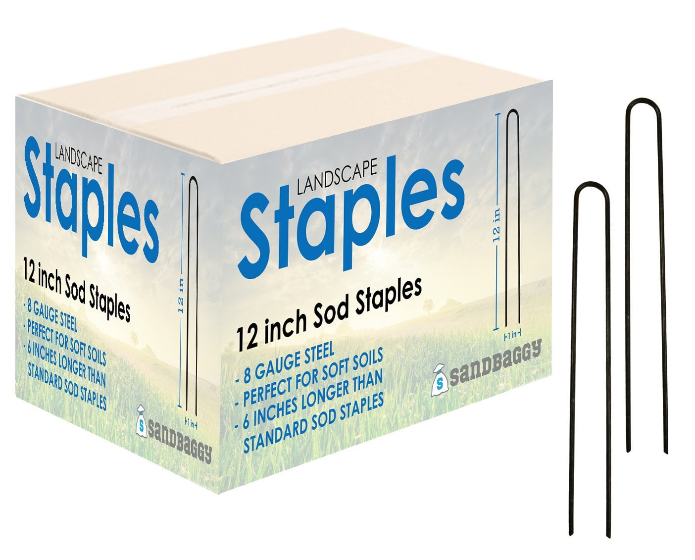 """Commercial Grade 8/"""" Weed Barrier Fabric Stakes Landscape Staples Sod Staples"""