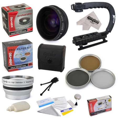 """All Sport Kit for SANYO VPC-FH1BK VPC-FH1ABK VPC-TH1 Camcorder with 0.2X Low-Profile """"Ninja"""" Fisheye Lens, 2.2x Lens, 3 Piece Filter Kit, X-GRIP Handle, Cleaning Kit,Microfiber Cloth"""