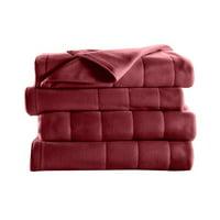 Sunbeam Electric Heated Fleece Channeled Blanket, King, Garnet