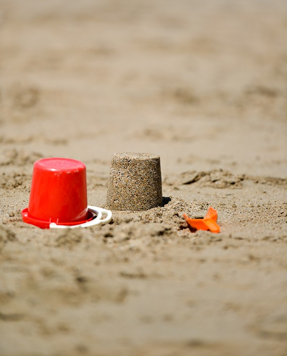 Laminated Poster Play Bucket Sand Shovel Red Sandcastle Beach Toy Poster Print 24 x 36 by