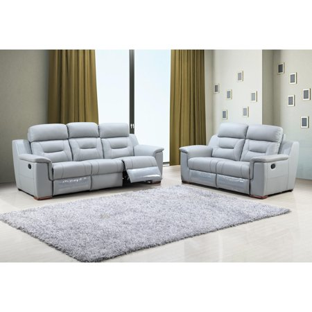 Astonishing Global United 9408 Contemporary Gray Leather Gel Match Recliner Sofa Set 2Pcs Theyellowbook Wood Chair Design Ideas Theyellowbookinfo