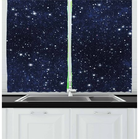 Night Curtains 2 Panels Set, Star Filled Dark Sky Vivid Celestial Theme Cosmos Galactic Cluster Constellation, Window Drapes for Living Room Bedroom, 55W X 39L Inches, Dark Blue White, by Ambesonne