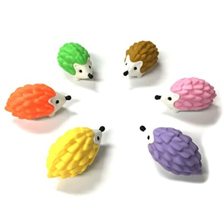 Iwako Japanese Erasers - Hedgehog 6 Pcs (Limited Colors) (Iwako Food Erasers)