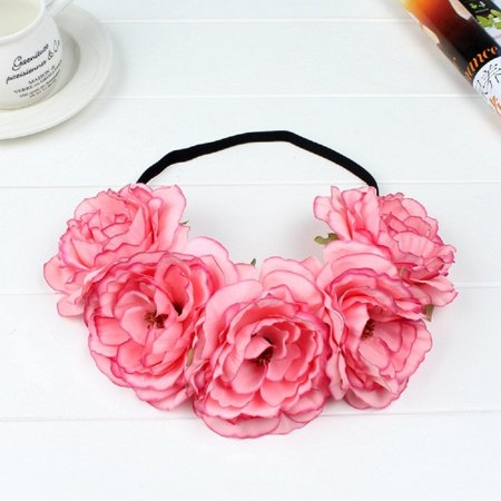 Fashion Women Wedding Flower Hair Garland Crown Headband Floral Wreath Hairband (Flower Halo Headband)