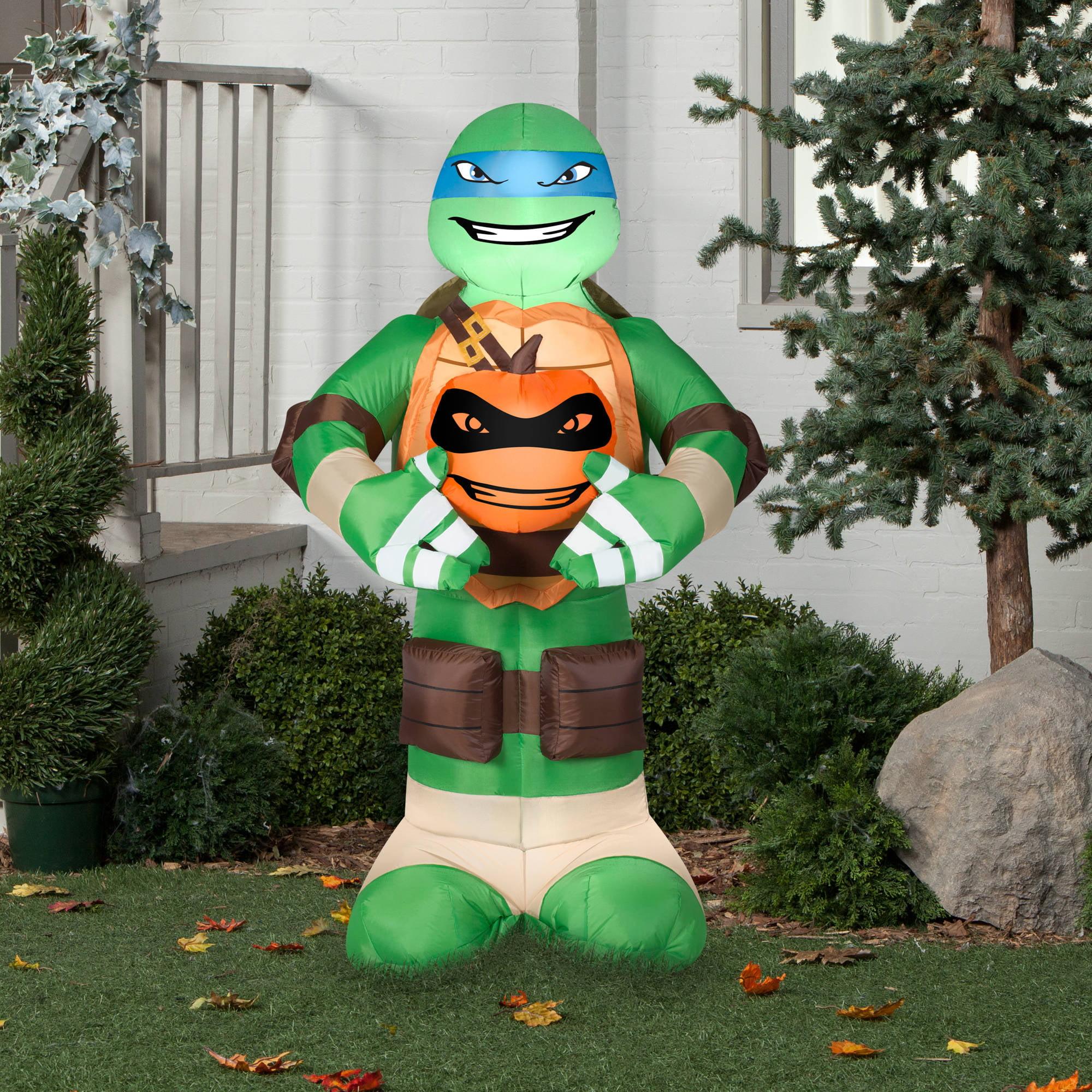 gemmy airblown inflatable 5 x 3 teenage mutant ninja turtles leonardo with pumpkin halloween decoration walmartcom