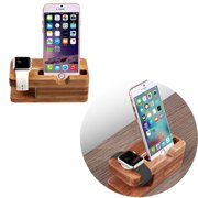 Juslike Apple Watch Stand, Bamboo Wood Desktop Charging Dock Station Charger Holder Cradle for iPhone 7 6 6S Plus  Smartphone (Bamboo Wood)