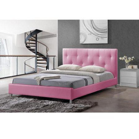 Baxton Studio Barbara Pink Modern Full-size Bed with Crystal Button Tufting ()