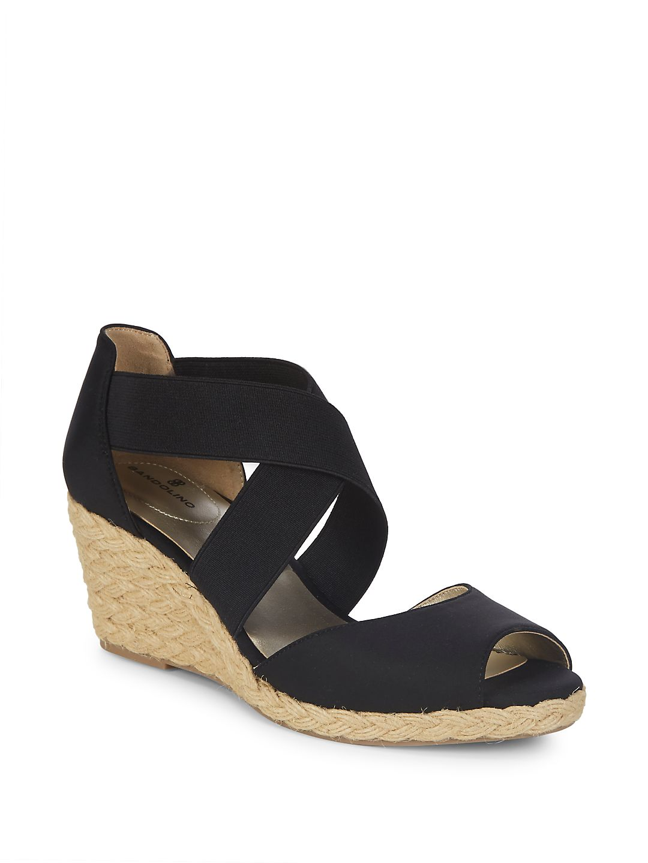 Womens Bandolino Hullen Wedge Espadrill Sandals, Black/Black