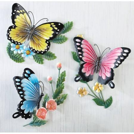 Set of 3 Spring Butterfly 3D Trio Elegant Vibrant Bird Metal Plaque Wall Sculpture Hanging Art Decor