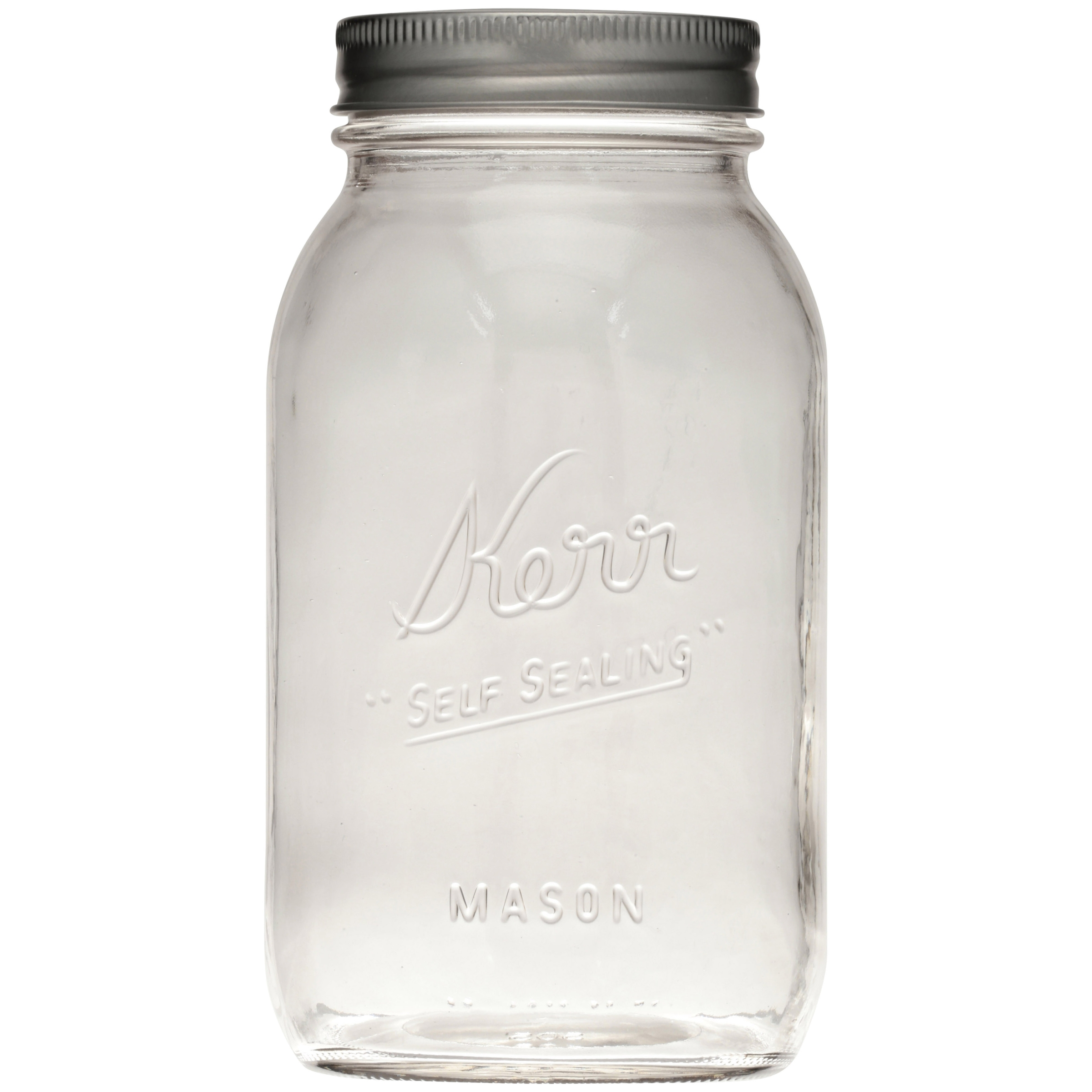 Kerr Regular Mouth Quart Glass Mason Jars with Lids and Bands, 12 ...