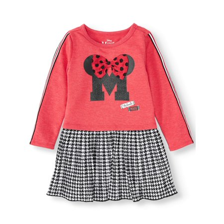 Plus Size Minnie Mouse Dress (Minnie Mouse Long Sleeve Racer Stripe Dress with Plaid Pleated Skirt (Toddler)