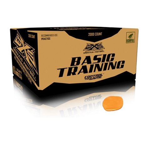 2000 Paintballs (DXS Basic Training Paintballs Case of 2000 Rounds - ORANGE FILL )
