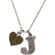 Glitter Initial J Necklace