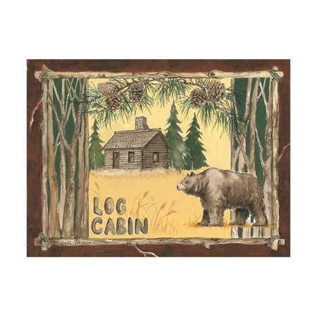 Cabin Wall Art - Log Cabin Bear Print Wall Art By Anita Phillips