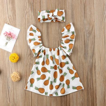Baby Girl Pineapple Printed Ruffle Sleeves Top + Bow-Knot Headband 2 Pcs Sets - Pineapple Headband