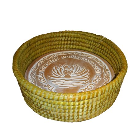 The Crabby Nook Warming Bread Basket with Lotus Warmer Tile Stone Hand Woven For Rolls Appetizers (12 Inch Natural) ()