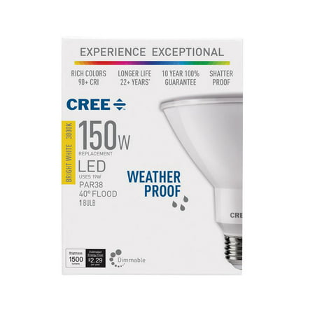 Cree 150W Equivalent Bright White (3000K) PAR38 Dimmable Exceptional Light Quality LED 40 Degree Flood Light Bulb