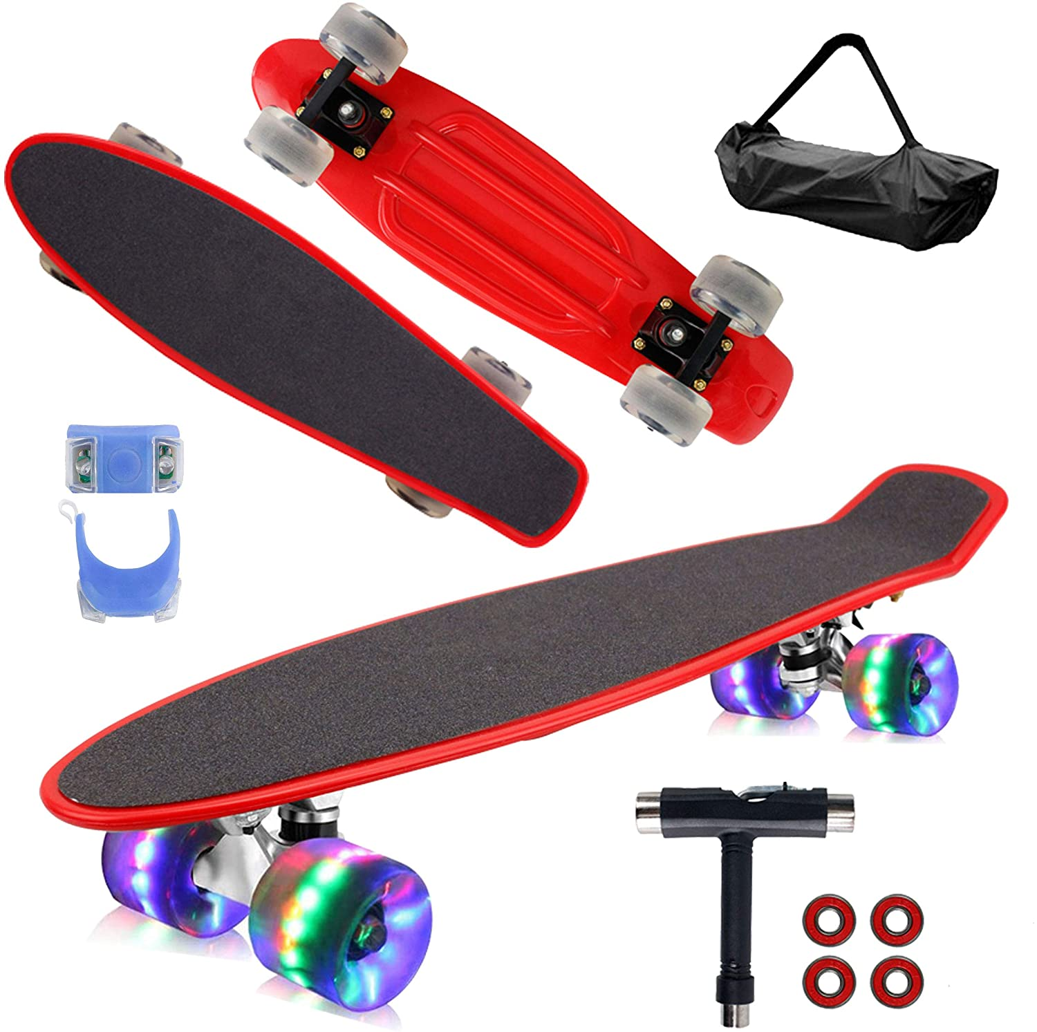 Details about  /22 Board Cruiser Skateboard with LED Light Up Wheels for Beginners 3 Color^9
