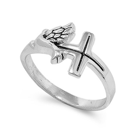Sterling Silver Women's Dove Christian Cross Ring (Sizes 5-10) (Ring Size