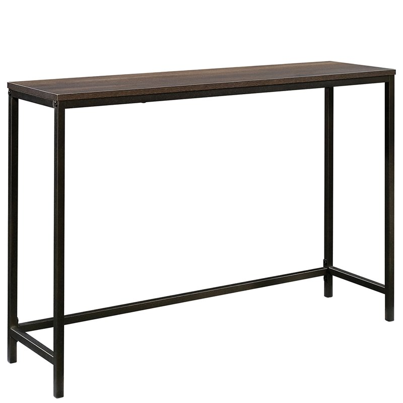 Sauder North Avenue Console Table in Smoked Oak and Black