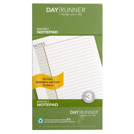 Day Runner Undated Lined Notepad Refill, 3.75 x 6.75 Inches (033-3)