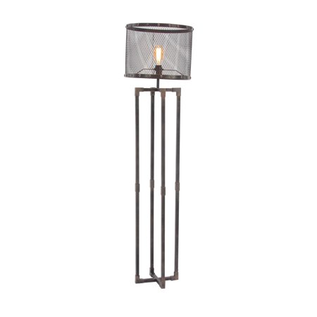 Decmode Industrial Round Metal Mesh Floor Lamp With Rectangular Frame Base, Bronze Base Floor Lamp