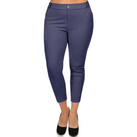 82a3b2b9c4c Womens Plus Size Slim Fit Jeggings 5 Pocket Skinny Capri Jeggings -  Walmart.com