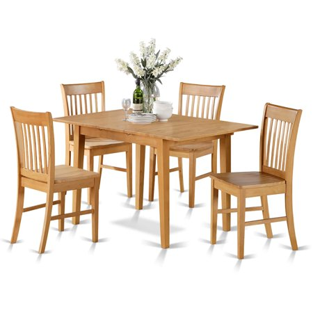 East West Furniture Oak Dinette Table with 12-inch Leaf and 6 Kitchen Chairs Chairs 7-piece Dining Set