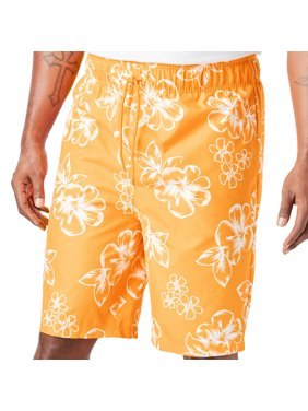 Kingsize Men's Big & Tall Hibiscus Print Swim Trunks