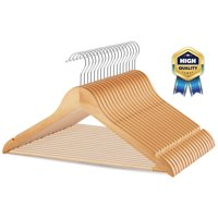 30 Pack Solid Wood Suit Hangers with Non Slip Bar and Precisely Cut Notches - 360 Degree Swivel Hook - Smooth Finish Super Sturdy and Durable Wooden Hangers