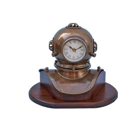 Antique Brass Divers Helmet Clock on Wood Base 12