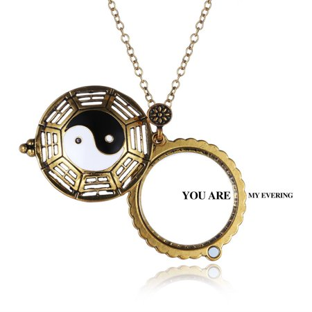 Vintage Magnifying Glass Hollow out YingYang Locket Pendant Necklace Chain