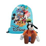 "Disney 11"" Goofy Plush Doll Toy w/ 15"" Mickey Drawstring Tote Sling Bag Set"