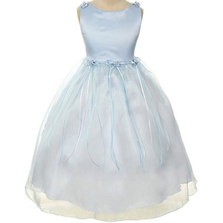 Rosebud Flower Bow Ribbons Little Girl Flower Girls Dresses - Blue Dress For Girls