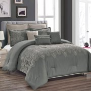 HGMart Bedding Comforter Set Bed In A Bag - 8 Piece Luxury Quilted Embroidered Bedding Sets - Microfiber Bedroom Comforters, Queen, Grey