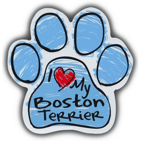 Scribble Paw Dog Magnets: I Love My Boston Terrier | Cars, Trucks, Refrigerators