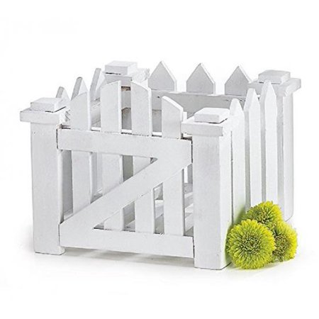White Wood Picket Fence Flower Planter for Home Decor, Weddings and Showers