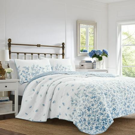 Laura Ashley King Flora Quilt Set Blue