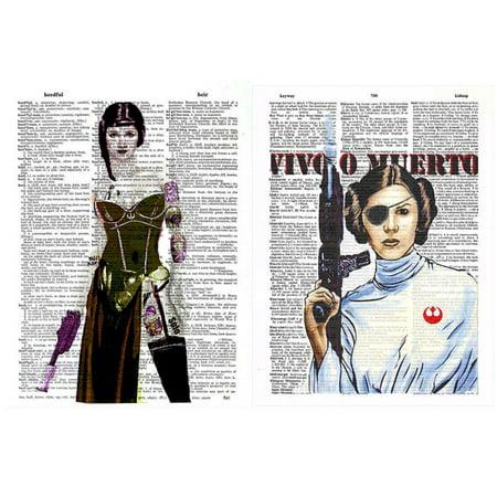 Art N Wordz Star Wars Princess Leia Carrie Fisher Set Original Dictionary Sheet Pop Art Wall Or Desk Art Print Poster