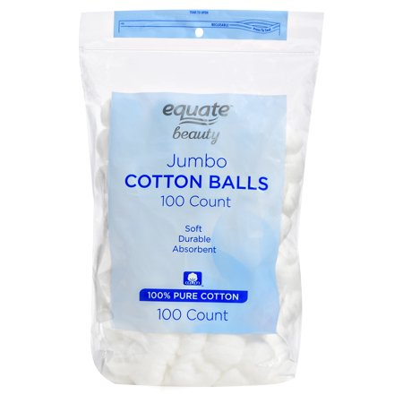 Equate Beauty Jumbo Cotton Balls, 100 Ct