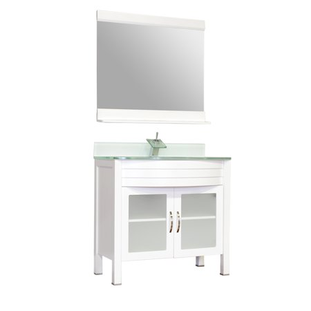"Image of Elite 36"" Single Modern Bathroom Vanity in White with Light Green Glass Top and Mirror with Mirror"
