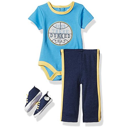 Bon Bebe Baby Boys' 3 Pc Sneaker Set with S/s Bodysuit and Pant, Dunked That Blue, 3-6 Months Bon Bebe 3 Piece Bodysuit