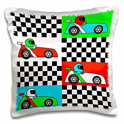 3dRose Boy Stuff Blue Red Green Racecars Checkered Flag Design, Pillow Case, 16 by 16-inch - Race Car Design