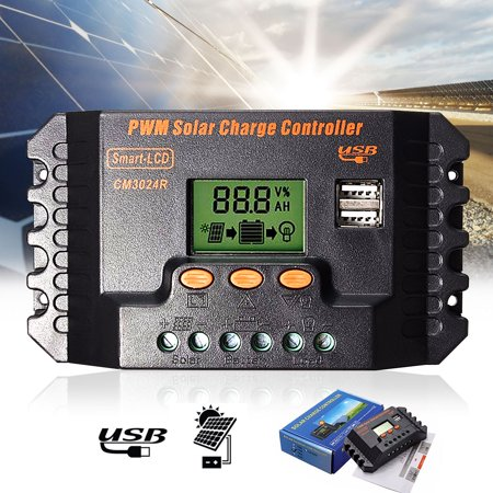 M.Way 20A 30A Solar Panel Charger Controller 12V/24V LCD Display PWM Battery Intelligent Regulator Ajustable Parameter with Dual USB