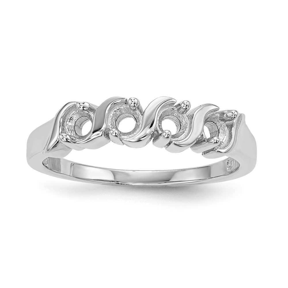 14k white gold polished 4 stone mothers ring mounting size. Black Bedroom Furniture Sets. Home Design Ideas